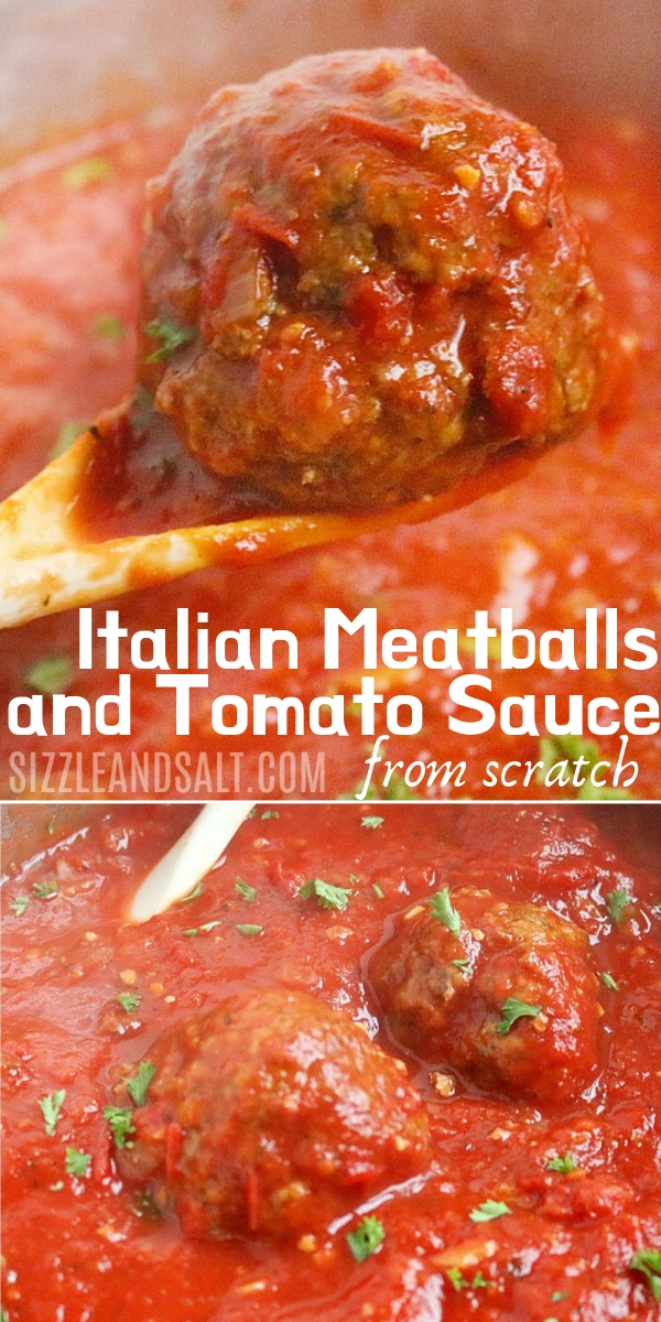From-scratch tomato sauce and Italian meatballs made the way Oma used to make! The perfect homemade meatballs and way to use up fresh tomatoes
