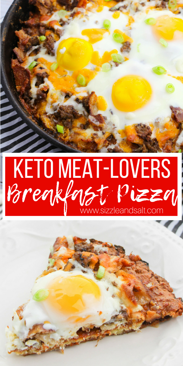 A cheesy, meat-lovers keto breakfast pizza that also doubles for lunch. This filling, low-carb breakfast is a crowd-pleaser and perfect for a keto brunch or just a special family breakfast