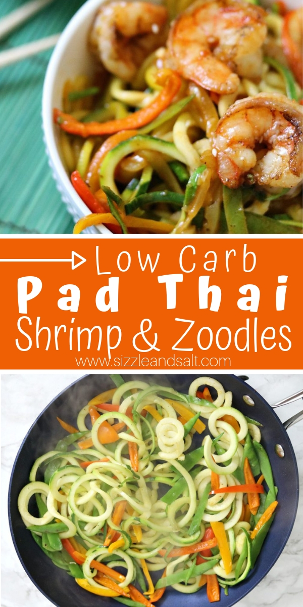 When you're craving take-out but you're eating low-carb, this Low Carb Pad Thai Shrimp and Zoodles will hit the spot