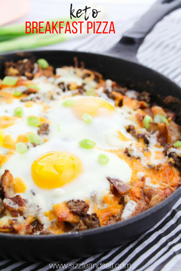 The ultimate keto breakfast for meat-lovers, this Low-Carb Keto Breakfast Pizza is a delicious and unique recipe perfect for brunch, or grab a slice on your way out the door!
