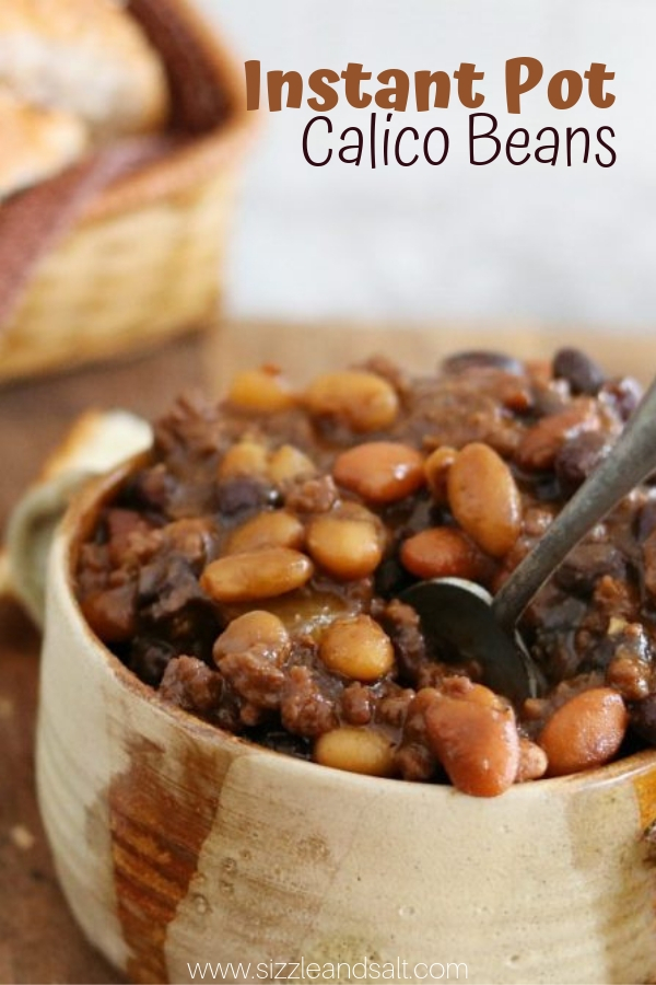 Instant Pot Calico Beans - the ultimate mash-up of baked beans and chilli with a flavorful tomato sauce. Instant Pot Comfort Food