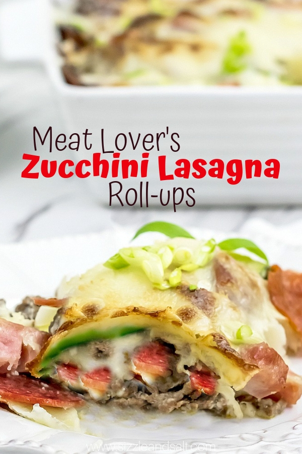 These Low Carb Zucchini Lasagna Roll-ups are a meat lover's dream - with 3 different types of meat and loads of cheese!
