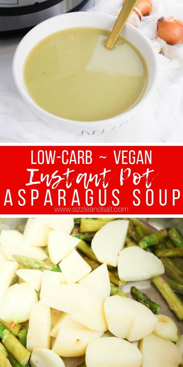 A super simple low-carb vegetable soup made in the Instant Pot! This Instant Pot Asparagus soup uses potatoes instead of cream for a rich, silky texture