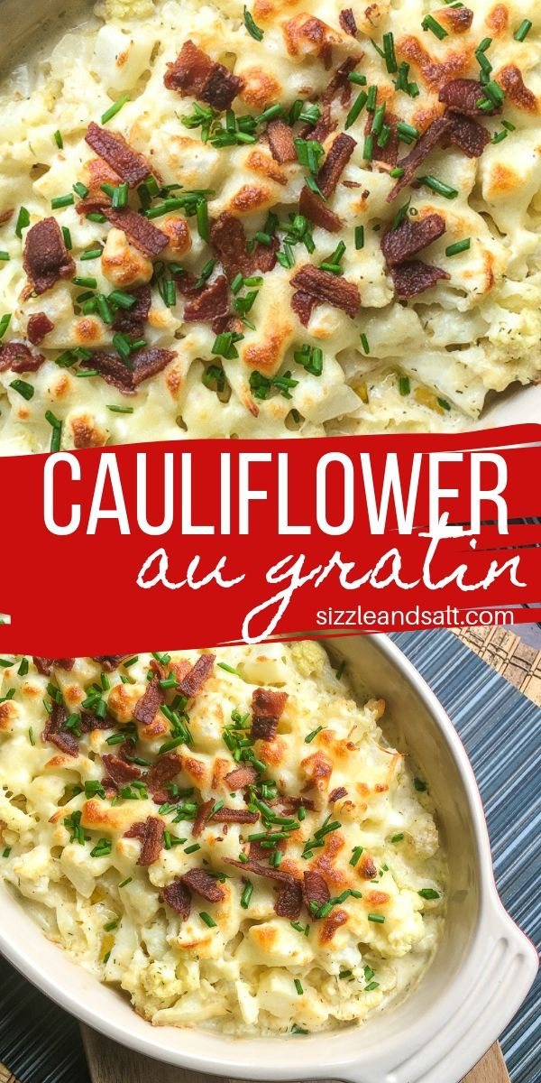 Low carb cauliflower gratin that tastes like a total cheat meal, this super simple cauliflower bake is a low carb veggie the whole family will love