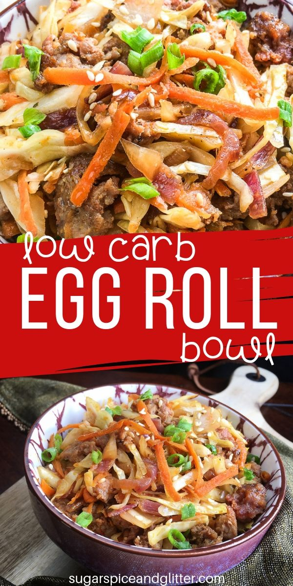Craving take-out? Make this Low Carb Egg Roll Bowl instead and enjoy authentic Asian flavors without any of the take-out trappings
