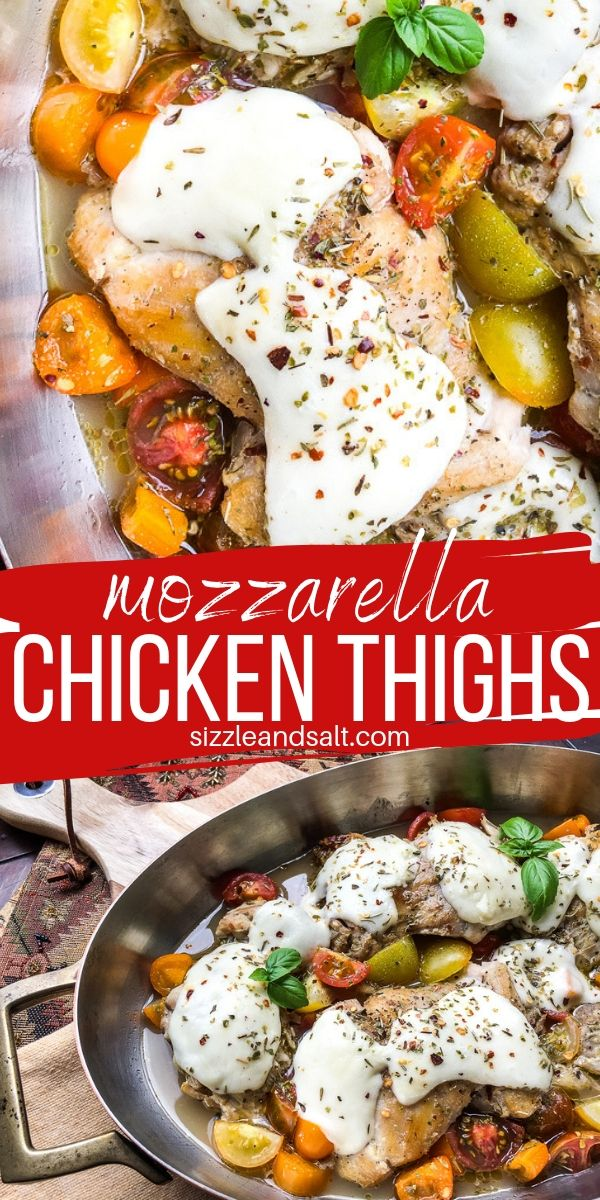 This Low Carb Mozzarella Chicken Thighs recipe works out to less than 2 net carbs per serving! The perfect cheesy Italian chicken recipe without all that breading