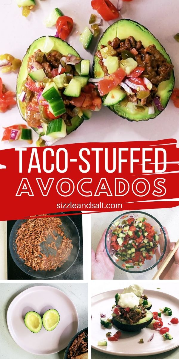 Check out our how-to recipe video for how to make these Taco Stuffed Avocados, for a low carb and healthy take on tacos