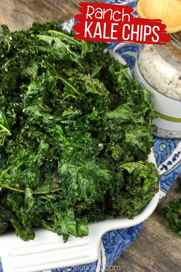 A low carb way to satisfy your potato chip craving, these Ranch Kale Chips and crispy, flavorful and good for you